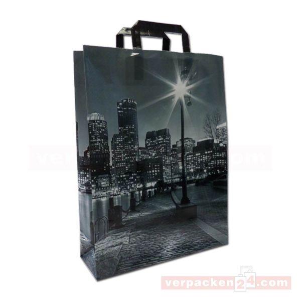 PP-Woven Tragetaschen - Citylights - Innenhenkel, 32+10x42cm