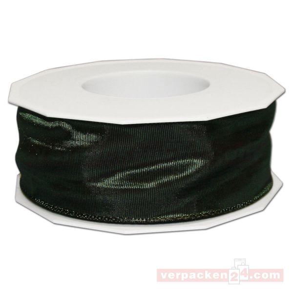 Seidenband - Lyon - mit Drahtkante, Rolle 25 m, 40 mm - dunkelgrün