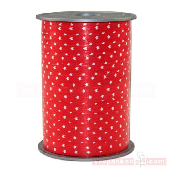Glanzband Weihnachten - Sterne Rolle, 10 mm - rot