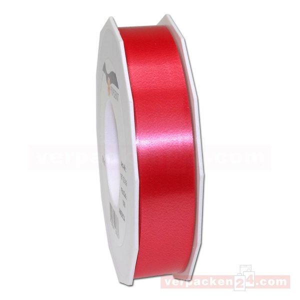 Glanzband - Lucky - lackiert Rolle 50m, 25 mm - rot (609)