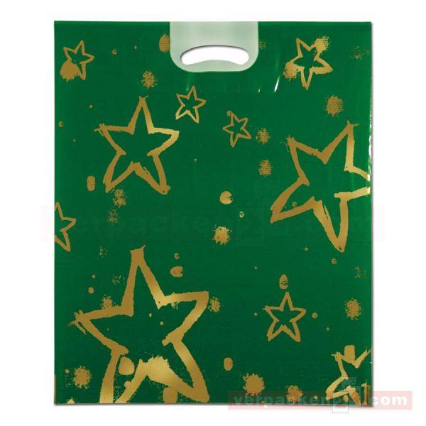 Weihnachts-Polytragetaschen - goldene Sterne - 37x45 cm - grün