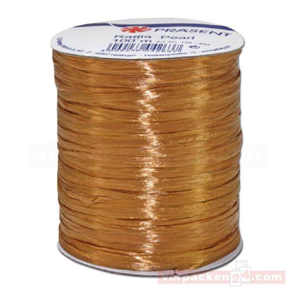Bastband auf Spule - Raffia PEARL - 100 m - uni gold (634)