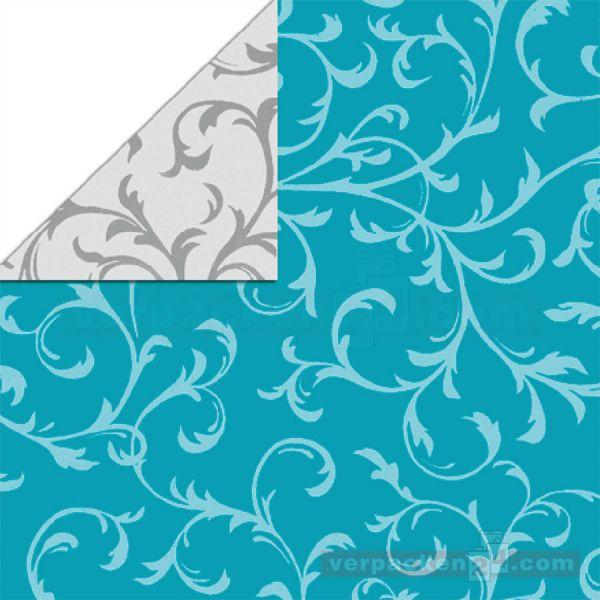 Geschenkpapier, neutral St 36603, Rolle 50 cm - Ornament türkis