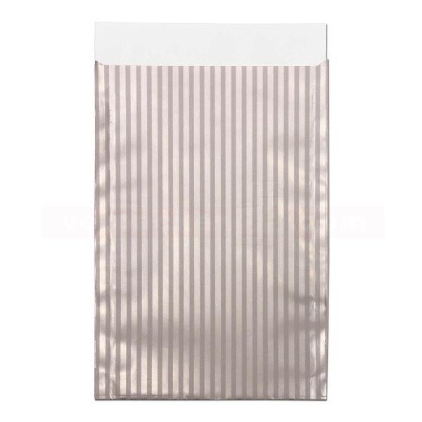 Geschenkflachbeutel, neutral - Lignes - Streifen grau/silber