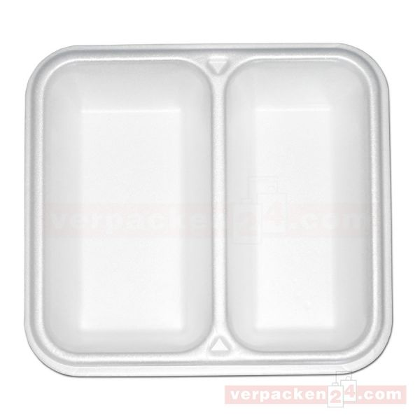 Thermo-Siegelschalen, Polystyrol, weiß - 2-geteilt - 1000 ml