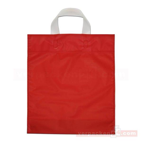 HDPE-Schlaufentasche, milchig transparent rot