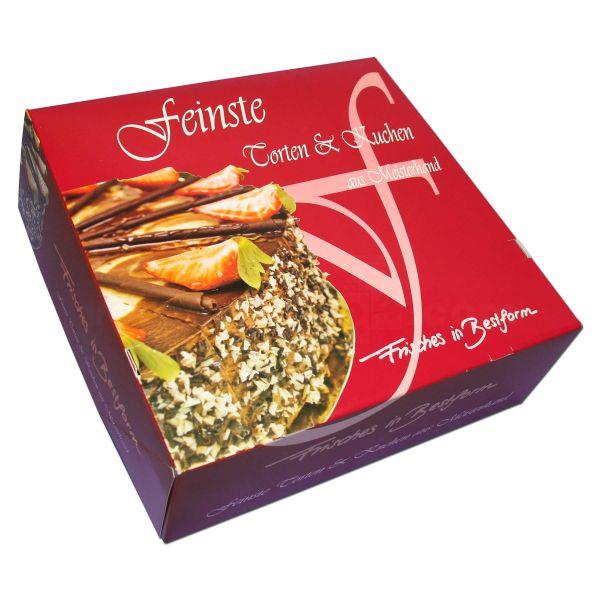 Tortenkarton, mit Deckel - Frisches in Bestform - 330x330x110mm