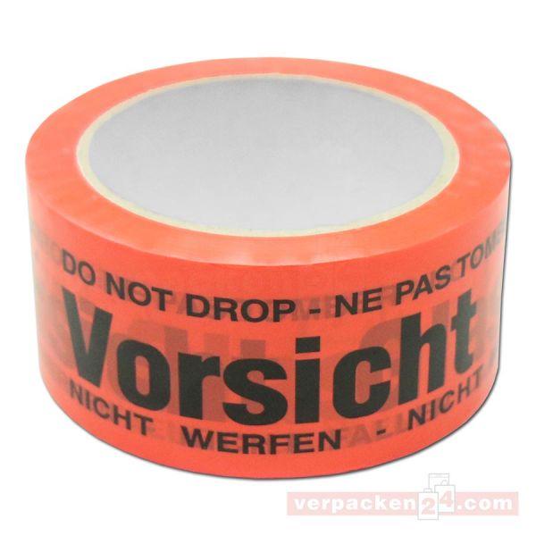 Packband, orange - Vorsicht Glas - Rolle 66 m - 50 mm