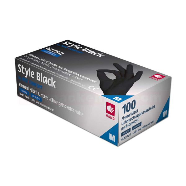 Nitril-Handschuhe - Einweghandschuhe STYLE BLACK schwarz, puderfrei