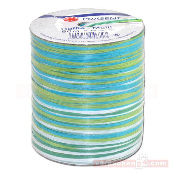 Bastband auf Spule - Raffia Multicolour 50 m - hellblau (703)