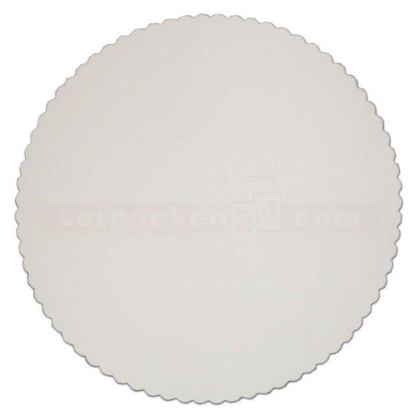 Tortenscheiben, weiß-grau - rund, gezackt