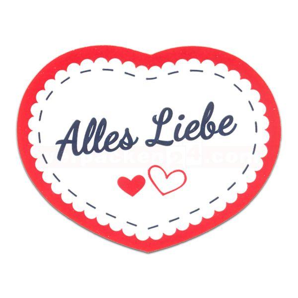 SKL-Etiketten, Herzform, Alles Liebe - 46x32mm - rot/blau