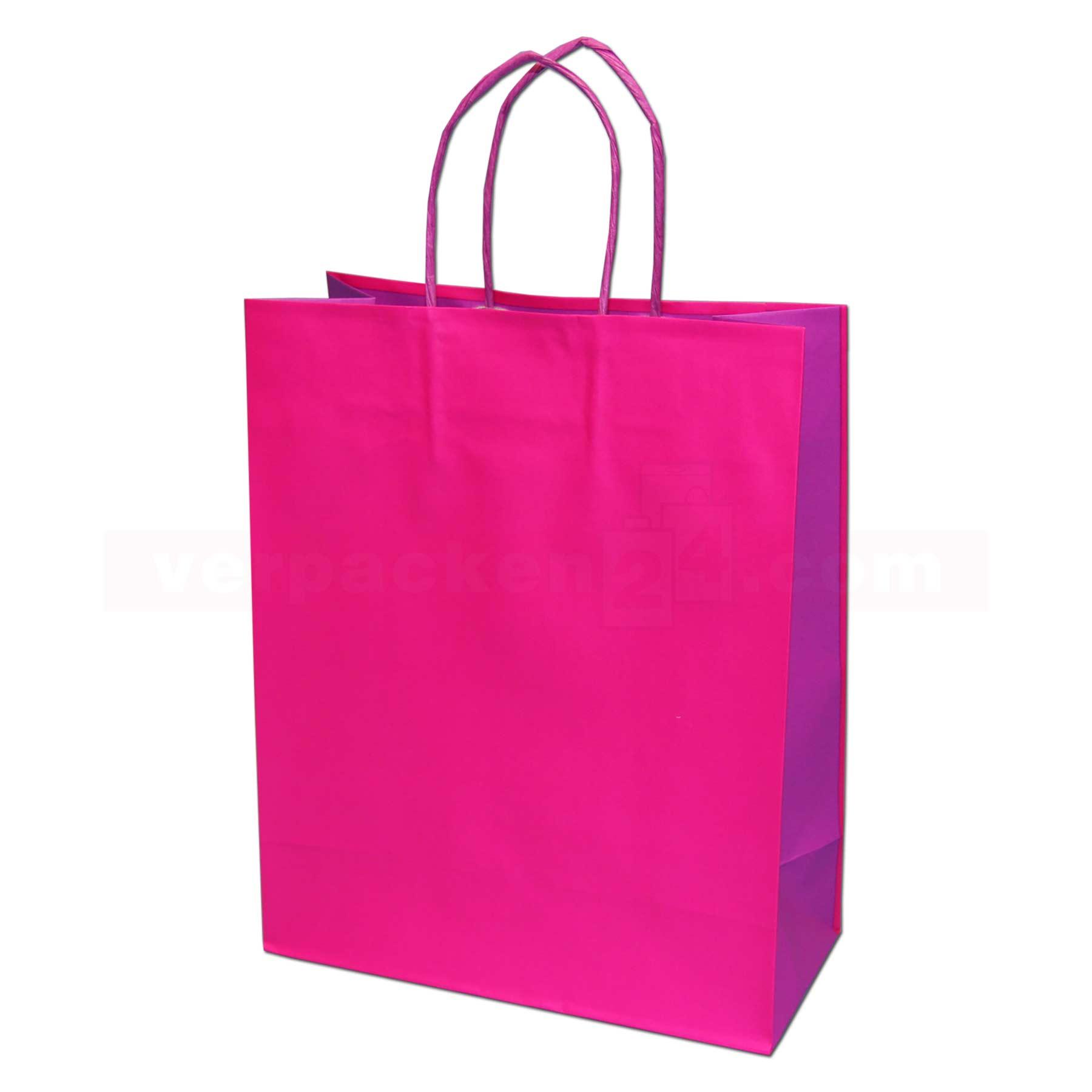papiertragetasche papierkordel bicolor fuchsia online shop. Black Bedroom Furniture Sets. Home Design Ideas