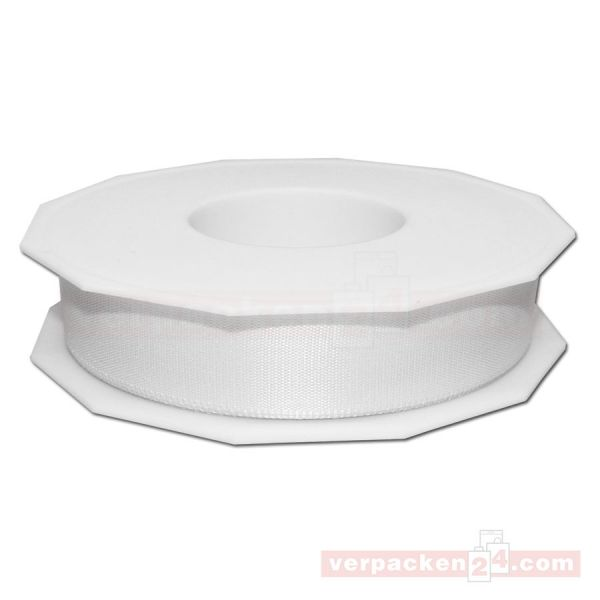 Seidenband - Europa - Rolle 50 m, 25 mm - weiß (601)