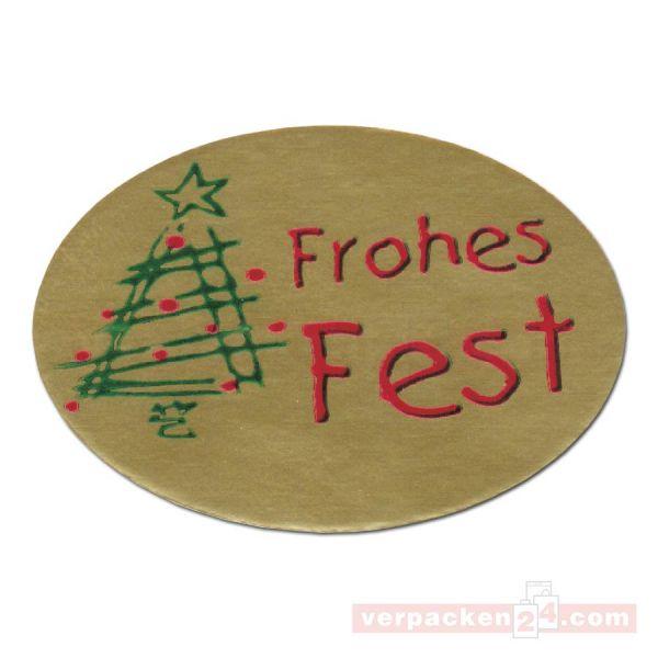 SKL-Etiketten, neutral - Frohes Fest - gold, Tanne grün - oval