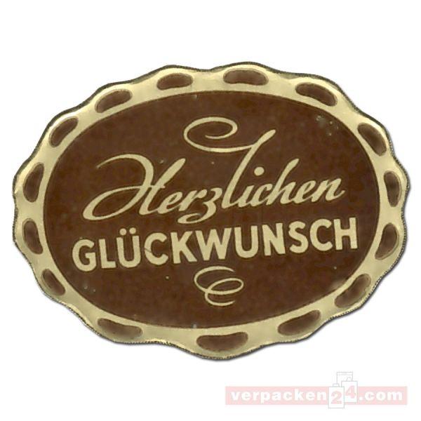 SKL-Etiketten, neutral - Herzl. Glückwunsch - braun/gold