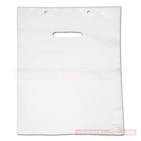 LDPE-Polyabreißtaschen weiß, ohne Falte - geblockt