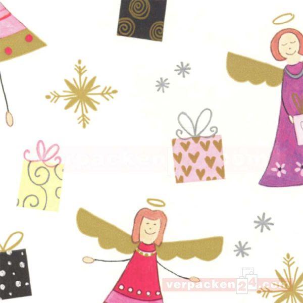 Weihnachts Geschenkpapier W 49633, Rolle 50cm Engelmotiv beige
