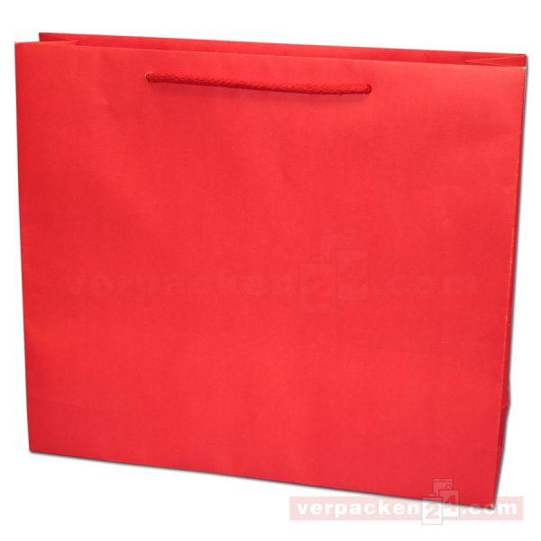 Papiertragetasche Regensburg NATUR - rot gerippt - 40+10x35+5cm