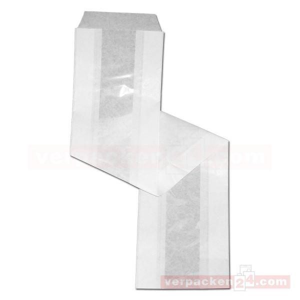 Sichtstreifen-Baguettebeutel, weiß - 11,0+6,0x63 cm