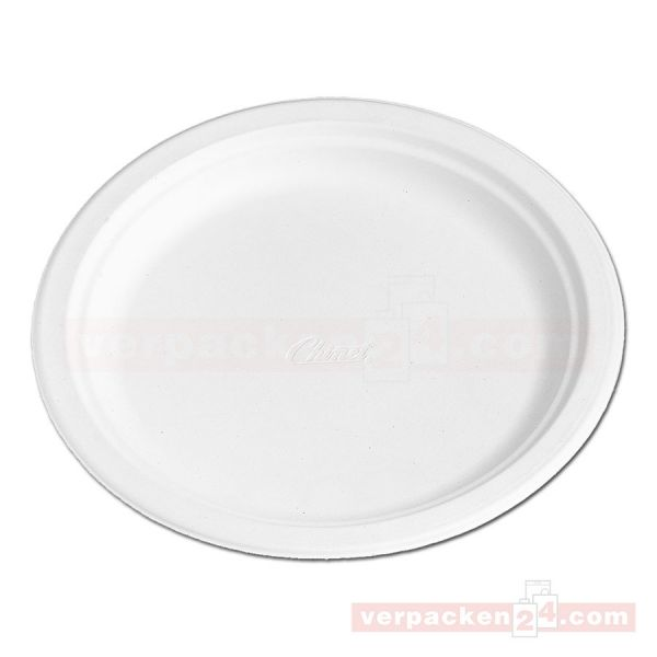 Chinet weiß, Holzschliff, Menü-Teller, rund - 24,0 cm