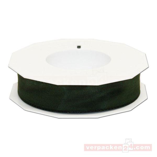 Seidenband - Lyon - mit Drahtkante, Rolle 25 m, 25 mm - dunkelgrün