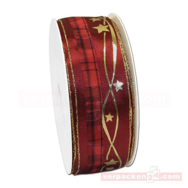 Drahtkantenband - Sterne + Streifen, Rolle 35 mm - rot/gold