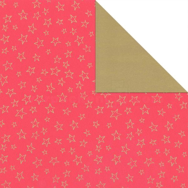 Weihnachts Geschenkpapier St 916247, Rolle 50cm, Sterne rot