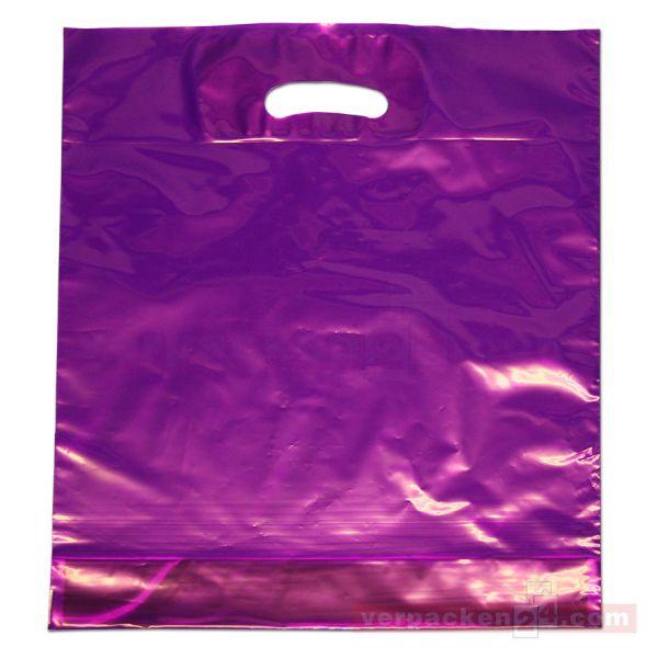 LDPE Polytragetasche, violett - 38x45+ 5/5 cm - 50µ