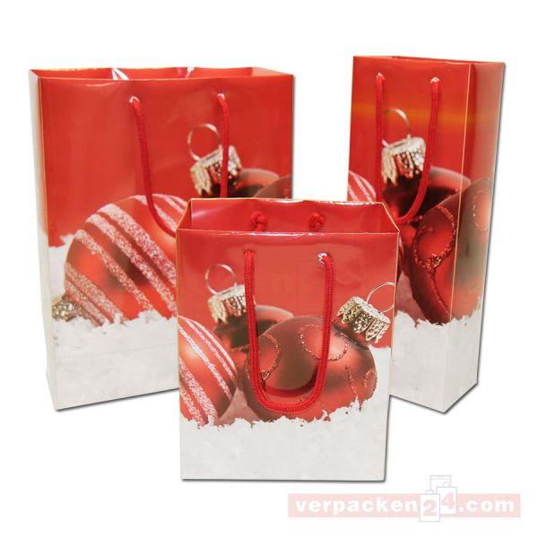 Weihnachts-Papiertragetasche - Exclusiv - Kugeln rot