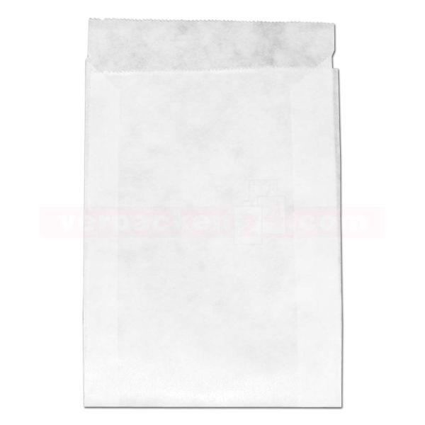 Flachbeutel (Zweinaht), weiß Kraftpapier