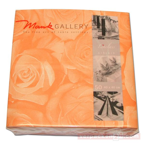 Servietten Airlaid farbig, 40x40 cm - 1/4 Falz, New Roses apriko