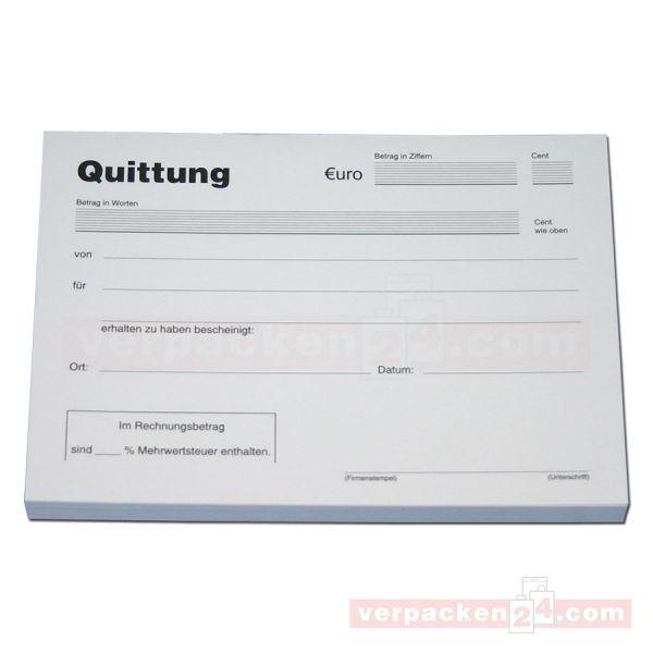 Quittungsblock, neutral á 100 Blatt - DIN A 6