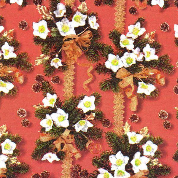 Weihnachts Geschenkpapier C034, Rolle 30cm, Christrose