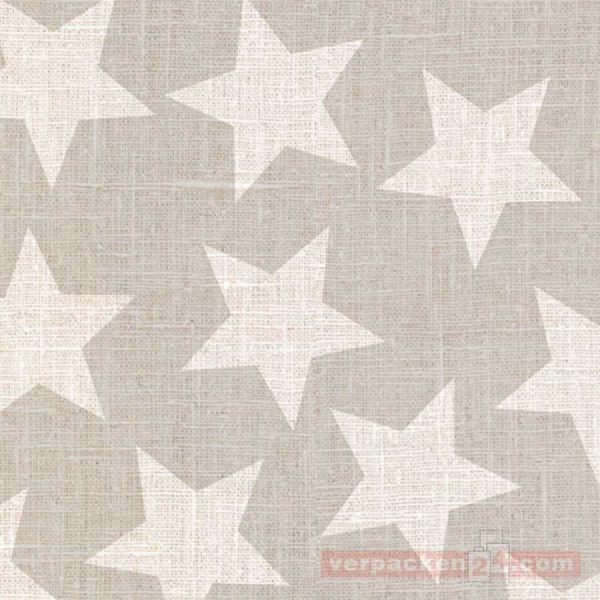 Weihnachts Geschenkpapier St 914094, Rolle 50cm, Sterne grau