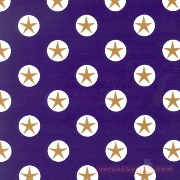 Weihnachts Geschenkpapier B 117063, Rolle 50 cm - blau Sterne