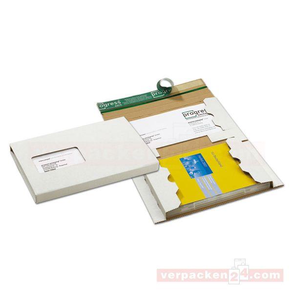 DVD-Mailer, Wellpappe weiß, Fenster zum Ausdrücken, 192x141x15mm
