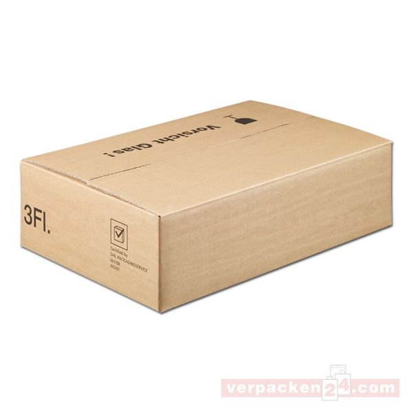 Versandkarton DU-LOG, 3 Flaschen - Umkarton - PTZ-Postgeprüft