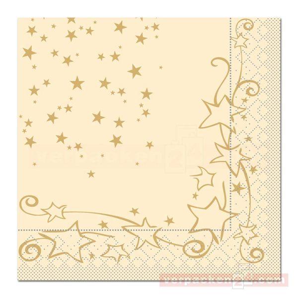 Servietten Tissue Xmas, 40x40 cm - 1/4 Falz, Glitter - creme