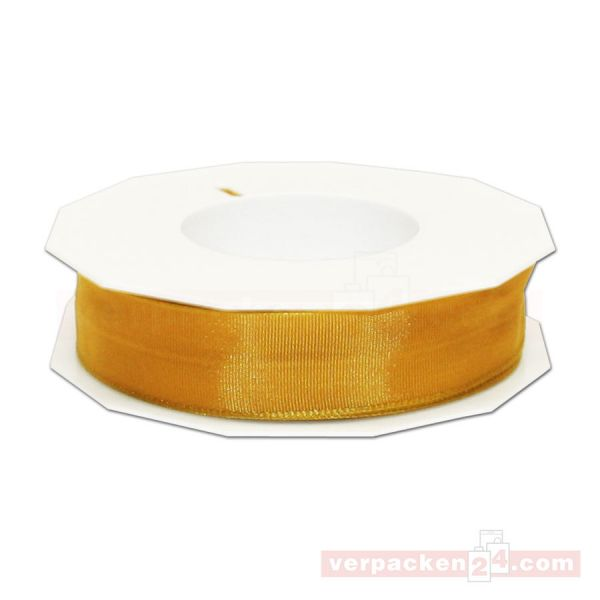 Seidenband - Lyon - mit Drahtkante, Rolle 25 m, 25 mm - gold