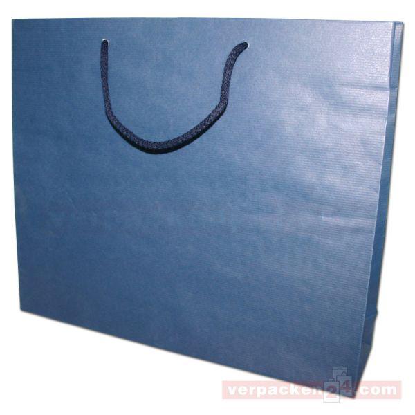 Papiertragetasche Regensburg NATUR - blau - 42+10x35+6cm