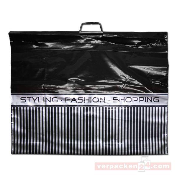 LDPE-Polytragetasche schwarz, Bügelgriff - 70x55+10cm - Shopping