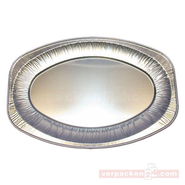 Alu-Servierplatten silber, oval - 445x295x30 mm