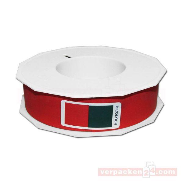 Glanzband Weihnachten Bicolor Rolle 50 m, 25 mm - rot/grün