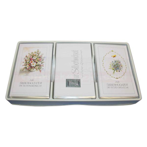 Glückwunschkarten, sortiert, Sortiment - Silberhochzeit 6x10 St.