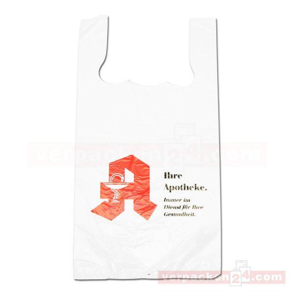 HDPE-Hemdchentaschen Apotheke, weiß, geblockt