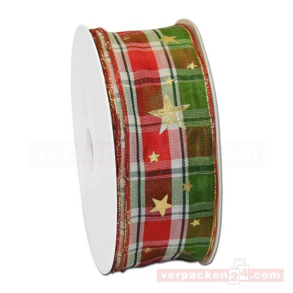 Drahtkantenband - Karos + Sterne, Rolle 40 mm - rot/grün