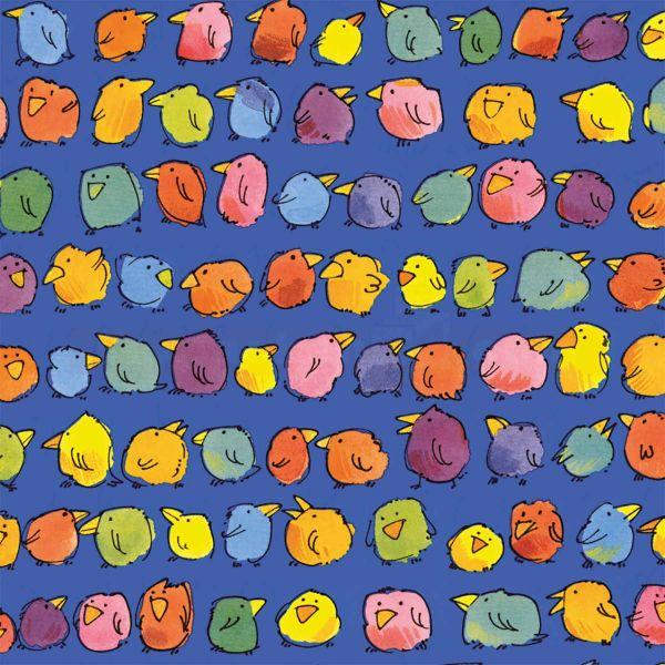 Geschenkpapier Kinder, neutral W 40123, Rolle 50 cm, bunte Vögel