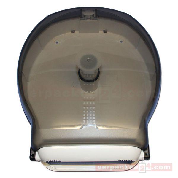 Toilettenpapierrollen-Spender, rauchglas klar /weiß, Jumbo 30 cm