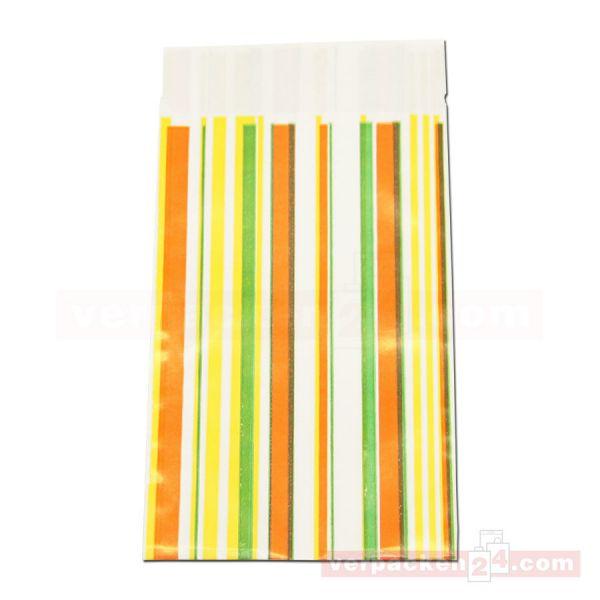 Geschenkflachbeutel, neutral Streifen orange P150 - 95x145+25 mm